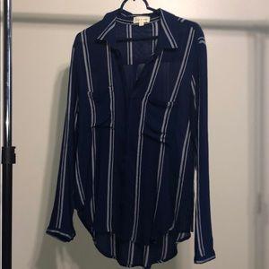 Cloth & Stone Blue White Stripe Long Sleeve Shirt